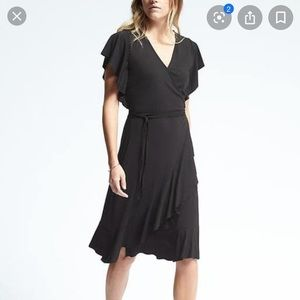 BANANA REPUBLIC stretch ruffle true wrap dress